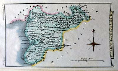 WALES  MERIONETHSHIRE  BY LEIGH / HALL HAND COLOUR GENUINE ANTIQUE MAP  c1826