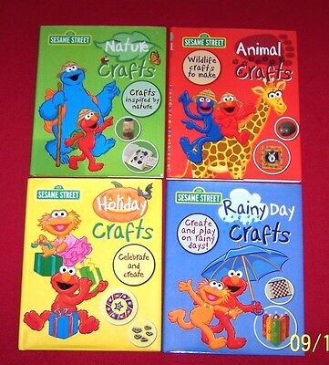 Lot 4 Craft Books Sesame Street Hardcover Dust Jackets Nature Holiday Animals