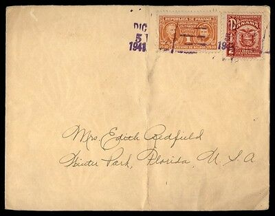 1941 Panama Multicolored Franking On Cover To Florida Us