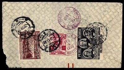 Peru International Machinery Co 1939 Registered Cover To Us