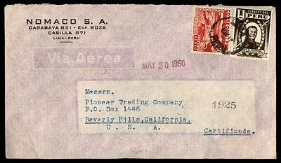 May 20, 1950 Lima Peru Nomaco Advertising Cover To Beverly Hills Us