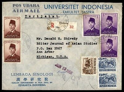 1958 Indonesia Multifranked Registered Cover To Ann Arbor Michigan Us