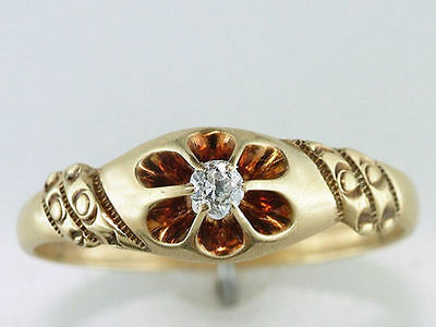 Vintage Antique Victorian Old Mine Diamond 14K Yellow Gold Engagement Ring