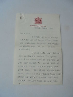 1942 Buckingham Palace Lady In Waiting Signed Letter + War Office Signed Letter