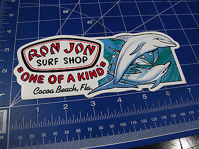 vtg* 1980s 90's Ron Jon surf sticker Dolphins shape cut