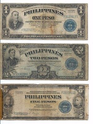 1944  Philippines  Victory Series 1,2 & 5 Peso Note; 3 Circulated Notes WWII Era