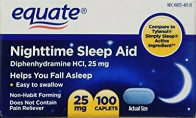 Equate Nighttime Sleep Aid 25 mg, 100 Mini-Caplets (Compare to SimplySleep)