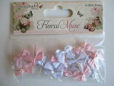 Dovecraft Floral Muse - 16 Mini Bows - satin  pink purple pastel silver edges