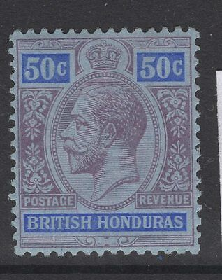 BRITISH HONDURAS SG107 1913 50c PURPLE & BLUE/BLUE MTD MINT
