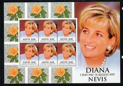Nevis Mnh 1998 Sg1251 1St Death Anv Of Diana Princess Of Wales Sheet Of 6
