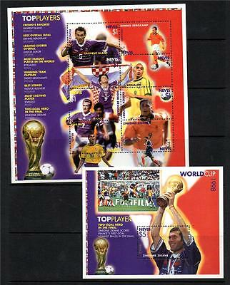 Nevis Mnh 1999 Sg1281-1288 & Ms1289 Leading Players Of World Cup Set Of 8 & M/s