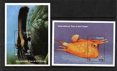 Nevis Mnh 1998 Ms1234 International Year Of The Ocean Mini Sheets X 2