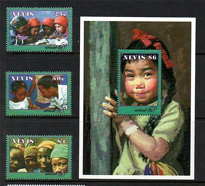 Nevis Mnh 1996 Sg1022-1024 & Ms1025 50Th Anv Of Unicef Set Of 3 & M/s