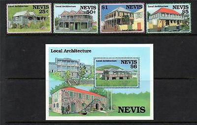 Nevis Mnh 1994 Sg836-839 & Ms840 Island Architecture Set Of 4 & M/s