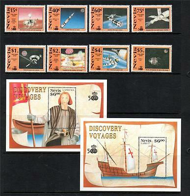 Nevis Mnh 1991 Sg592-599 & Ms600 500Th Anv Discovery Of America Set Of 8 & M/s