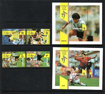 Nevis Mnh 1990 Sg559-562 & Ms563 World Cup Italy Set Of 4 & M/s X 2