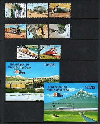 Nevis Mnh 1991 Sg632-639 & Ms640 Philanippon 91 Japanese Rail Set Of 8 & M/s X 2