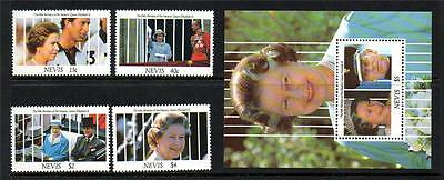 Nevis Mnh 1991 Sg622-625 & Ms626 65Th Birthday Of Qeii Set Of 4 & M/s