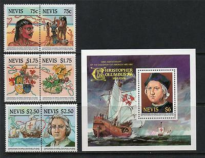 Nevis Mnh 1986 Sg377-382 & Ms383 500Th Anv Discovery Of America Set Of 6 & M/s