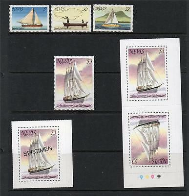 Nevis Mnh 1980 Sg51-54 Boats Set Of 4/specimen Issue & Pair Issue