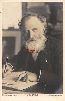 Titanic Casualty W T Stead Newspaper Editor Sits Writing Close Up Photo Card