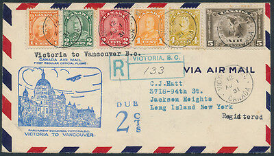 1931 AAMC #3137a Victoria to Vancouver Flight, Registered, Colourful Franking