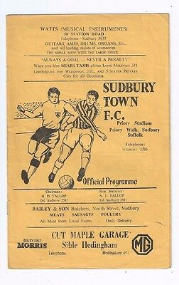 Programme Sudbury Town V Boston Priory Stadium August 27 1966