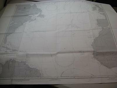 Map 1962 Map North Atlantic USA Canada UK The Caribean Africa Spain Azores