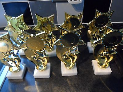 Joblot Of 8 - Gold - 3 Star - Trophies - Free Engraved Plates