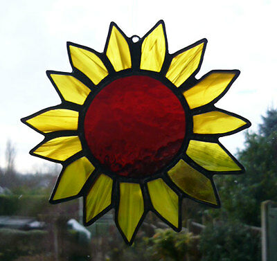 Stained Glass Sunflower - Window / Wall Hanging - Bright Yellow & Brown NEW