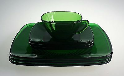 Anchor Hocking Fire King Lot of 6 Forest Green Charm Plate Saucer Cup