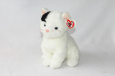 """Ty Buddy Delilah Black White Kitty Cat Seated Blue Eyes 2004 Plush Toy 9"""" w/tags"""