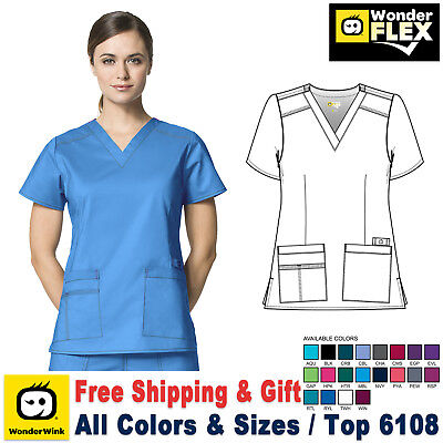 WonderWink Flex [XXS-5X] Women's V-Neck Short Sleeve Medical Scrubs Uniforms Top