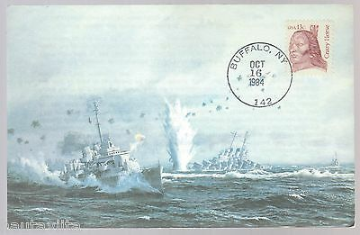 USS The Sullivans DD537 Color Painting Postcard with USS Houston + Tug Pawnee