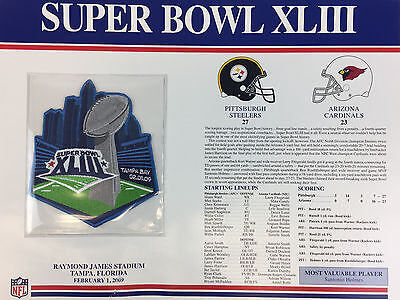 Super bowl 43 steelers cardinals willabee ward official nfl sb.