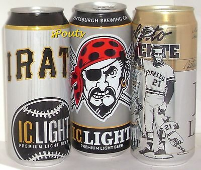 Pittsburgh Pirate Baseball Pint Beer Can Set Sport Jolly Roger Roberto Clemente