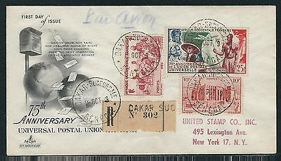 1949 French West Africa Registered Air Mail Cover - Dakar-Succursale to New York