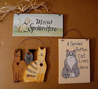 Meow spoken here Spoiled rotten cat lives here 3 cats wood decor 3pc plaque sign