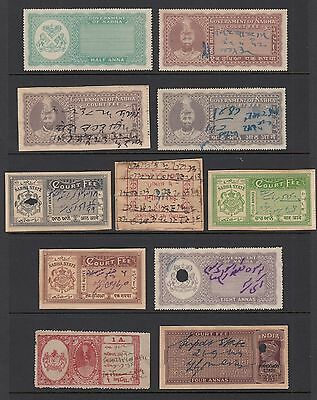 INDIAN STATES - NABHA and others, 11 REVENUE STAMPS, USED