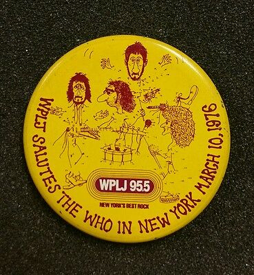 """The Who Vintage March 10,1976 Concert Pin Button Wplj New York 2 1/4"""""""