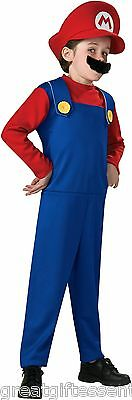 MARIO Child Costume Small S 4-6 Super Mario Bros Red Nintendo Kids LICENSED