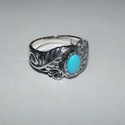 Carolyn Pollack American West Sleeping Beauty Turquoise Floral Ring Size 7