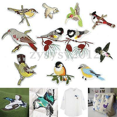 10pcs Cute Birds Sew On Patch Badge Embroidered Cloth Lace Fabric Applique DIY
