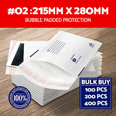 100x 200x 400x Bubble Padded Bag 215x280mm Mailer Envelope White Printed Size 02