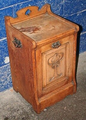 ~Antique ~Art Nouveau ~Oak ~Coal Scuttle ~Coal Box ~Purdonium~ Lined~ VGC~