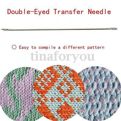 One Double-Eyed Transfer Needle For All 9mm Bulky Knitting Machine/Ribber Steel