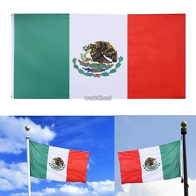 3 x 5 ft Mexico Flag Grommets Indoor Outdoor eagle Polyester Banner Brass WST