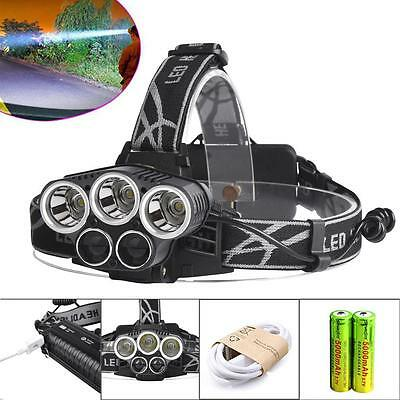 40000LM 5X XM-L T6 LED Rechargeable USB Headlamp 18650 Battery Cycling Torch SP