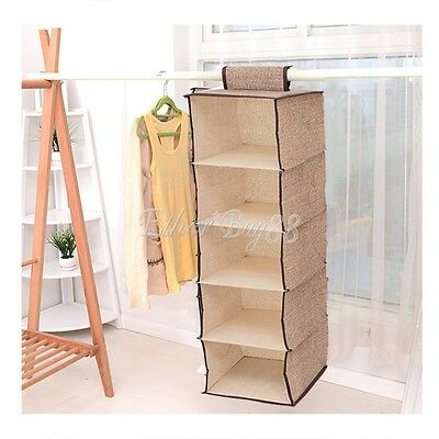 Hanging Clothes Shirt Storage Organiser 5-Shelf Cabinet Wardrobe Closet Hanger