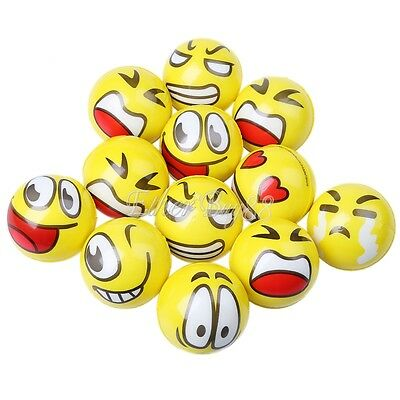 12Pcs Smiley Face Emoji Anti Stress Relief ADHD Mood Squeeze Ball Reliever Toy